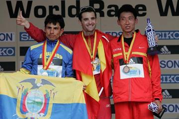 The men's 20 km podium in La Coruña - Jefferson Pérez (ECU), Francisco Javier Fernández (ESP), and Han Yucheng (CHN) (Getty Images)