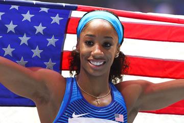 US sprint hurdler Kendra Harrison celebrates her victory (Getty Images)