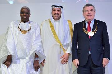 (l-r) IAAF President Lamine Diack, ANOC President Sheikh Ahmad Al-Fahad Al-Sabah and IOC President Thomas Bach (Getty images)