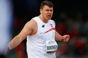 Konrad Bukowiecki in the shot put at the IAAF World Junior Championships Oregon 2014 (Getty Images)