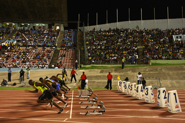 The start of the men's 100m at the Jamaica International Invitational in Kingston (Getty Images)
