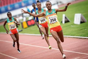 Tsehay Gemechu leads an Ethiopian 1-2-3 in the women's 10,000m at the African Games (AFP / Getty Images)