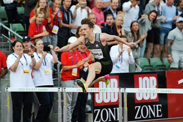 Karsten Warholm en route to his surprise victory at the IAAF Diamond League meeting in Oslo (Mark Shearman)