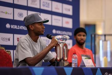 Mutaz Barshim speaks at the Wanda Diamond League press conference in Doha (Dan Vernon)