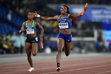 Aleia Hobbs anchors USA to victory in the women's 4x100m at the IAAF World Relays Yokohama 2019 (Getty Images)