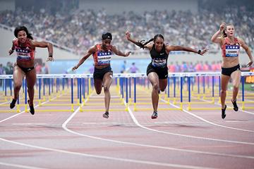 Brianna McNeal wins the 100m hurdles at the IAAF Diamond League meeting in Shanghai (Errol Anderson)