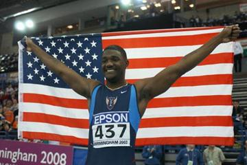 Justin Gatlin after winning the men's 60m final (Getty Images)