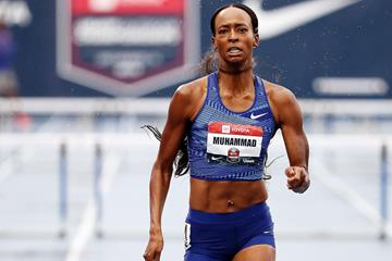 Dalilah Muhammad on her way to a 400m hurdles world record at the US Championships (Getty Images)