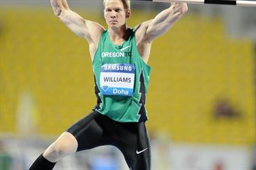 Jesse Williams after his 2.33m leap to seal the win in Doha (Jiro Mochizuki)