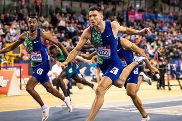 Andrew Pozzi wins the 60m hurdles at the World Athletics Indoor Tour meeting in Glasgow (Dan Vernon)