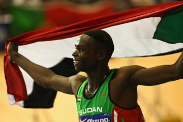 Abubaker Kaki, winner of the men's 800m, on his victory lap (Getty Images)