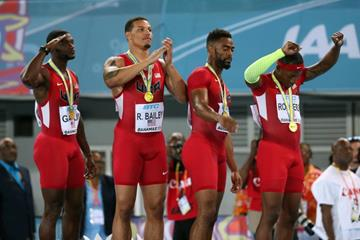 USA, winners of the men's 4x100m at the IAAF/BTC World Relays, Bahamas 2015 (Getty Images)