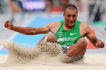 USA's Ashton Eaton in action in the long jump (Getty Images)