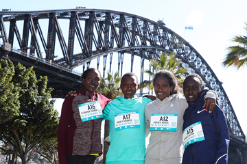 Filomena Chepchirchir, Mercy Kibarus, Askale Adula and Bornes Kitur ahead of the Sydney Marathon (Organisers / Victah Sailer)
