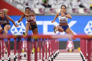 Nafi Thiam and Katarina Johnson-Thompson side by side in the heptathlon 100m hurdles at the IAAF World Athletics Championships Doha 2019 (Getty Images)