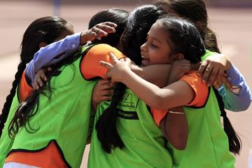 Children celebrate at the IAAF / Nestlé Kids' Athletics workshop in New Delhi (AFI)