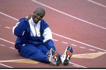 Donovan Bailey, training in December 1997 (Getty Images)