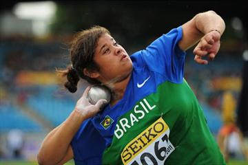 Izabela da Silva of Brazil in action during the Girls shot put qualification day One - WYC Lille 6 July 2011 (Getty Images)