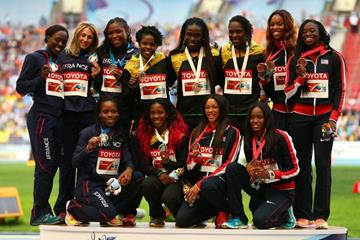 Womens 4x100m Relay Medal Ceremony at the IAAF World Athletics Championships Moscow 2013 (Getty Images)