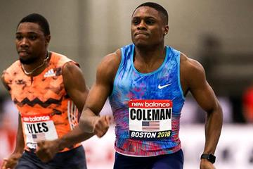 60m winner Christian Coleman at the IAAF World Indoor Tour meeting in Boston (PhotoRun)