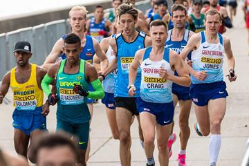 Otmane Nait Hammou (centre) in action at the World Athletics Half Marathon Championships Gdynia 2020 (Dan Vernon)