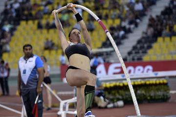 Sandi Morris at the 2016 IAAF Diamond League meeting in Doha (Hasse Sjogren)