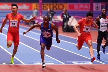 Christian Coleman wins the 60m at the IAAF World Indoor Championships Birmingham 2018 (Getty Images)