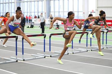 Kendra Harrison on her way to winning the 60m hurdles at the New Balance Indoor Grand Prix (Victah Sailer)