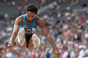 Malaika Mihambo sails to 7.16m in the long jump at the German Championships (Bongarts / Getty Images)