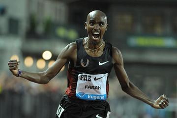 Mo Farah's delight in winning 10,000m in Eugene in European record (Kirby Lee)
