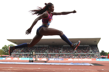 Triple jump winner Caterine Ibarguen at the IAAF Diamond League meeting in Birmingham (Jean-Pierre Durand)