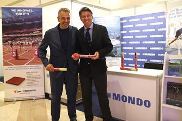 MONDO Sport & Flooring Director Maurizio Stroppiana with IAAF President Sebastian Coe in Doha (MONDO)