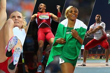 Anna Rogowska, Ashton Eaton, Blessing Okagbare and Koji Murofushi (Getty Images)