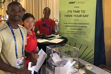 Athletes voting in the IAAF Athletes' Commission elections in Doha (IAAF)