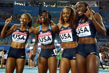 (L-R) Allyson Felix, Francena McCorory, Sanya Richards-Ross and Jessica Beard of the USA celebrate victory in the women's 4x400 metre relay final (Getty Images - Bongarts)