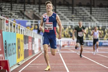 Karsten Warholm on his way to winning the 400m hurdles at the Diamond League meeting in Stockholm (Deca Text & Bild)