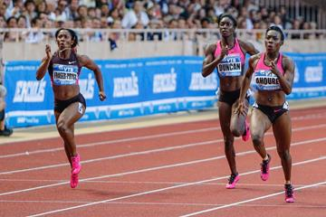 Murielle Ahoure beats Shelly-Ann Fraser-Pryce in Monaco (Philippe Fitte)