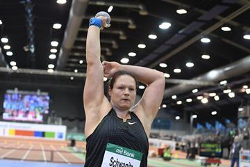 Christina Schwanitz, winner of the shot put at the IAAF World Indoor Tour meeting in Dusseldorf (Gladys Chai von der Laage)