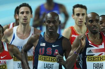 Mo Farah of Great Britain and Bernard Lagat of the United States compete in the Men's 3000 Metres first round during day one - WIC Istanbul (Getty Images)