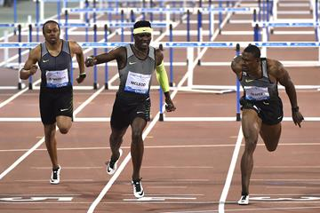 Omar McLeod (centre) winning the 110m hurdles at the 2016 IAAF Diamond League meeting in Doha (Hasse Sjogren)