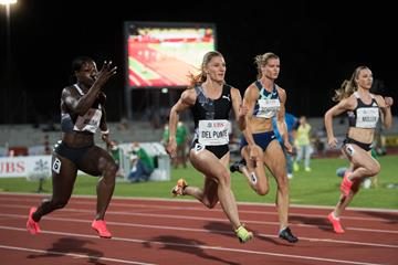 Ajla del Ponte en route to a 100m victory in Bellinzona (Ti-Press / Samuel Golay (organisers))