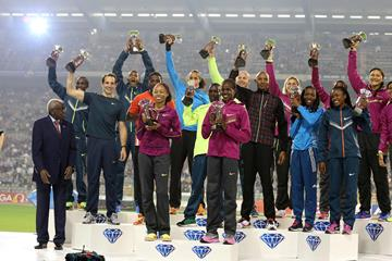 The 16 Diamond Race winners at the 2014 IAAF Diamond League final in Brussels, with IAAF President Lamine Diack (left)  (Gladys von der Laage)