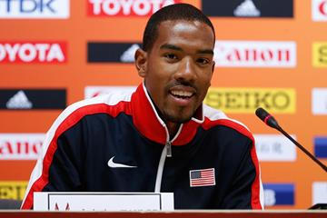 Christian Taylor at the US team press conference ahead of the IAAF World Championships, Beijing 2015 (Getty Images)