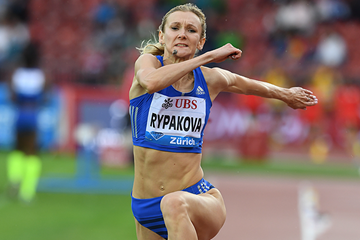 Triple jump winner Olga Rypakova at the IAAF Diamond League final in Zurich (Jiro Mochizuki)