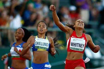 Kaylin Whitney wins the 200m at the IAAF World Junior Championships, Oregon 2014 (Getty Images)