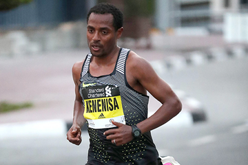 Kenenisa Bekele in action at the Dubai Marathon (Giancarlo Colombo / organisers)