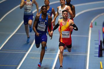 Oscar Husillos winning his 400m semi-final in Birmingham (Getty Images)