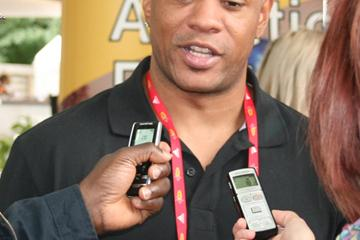 Maurice Greene meets with the media at a lunch hosted by Thessaloniki organisers in Berlin (Bob Ramsak)