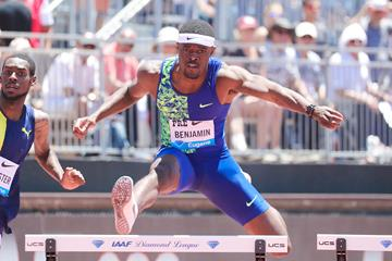 Rai Benjamin on his way to winning the 400m hurdles at the IAAF Diamond League meeting in Stanford (Victah Sailer)