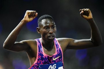 Conseslus Kipruto of Kenya celebrates his victory (AFP / Getty Images)